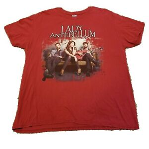 Lady Antebellum Own The Night Concert Tour Mens Sz XL Red Tee Shirt Double Sided