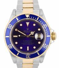 Rolex Submariner PURPLE 16613 W Blue Two Tone Steel 40mm Swiss Dive Date Watch