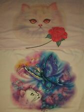 2 Vintage 1980s Cat Love Heart Butterfly Airbrush art Paper Thin t shirt lot