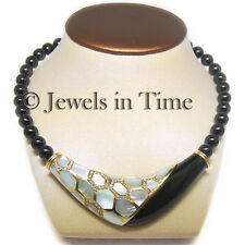 1.38 Carat Diamond & Onyx & Mother of Pearl Necklace in 14k Yellow Gold