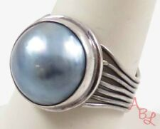 Sterling Silver Vintage 925 Solitaire Mabe Pearl Ring Sz 8.5 (6.4g) - 745262