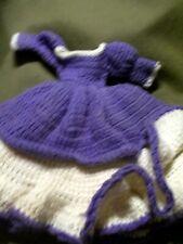 "Handmade 13"" Purple And White Crochet Double Tier Doll Dress"