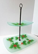 "Block Crystal Holly & Berries 2 Tier Tray 16"" Christmas Serving Entertaining"