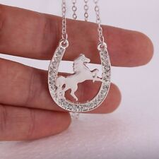 "Silvery 1-3/8"" x 1"" Rhinestone HORSESHOE with HORSE Pendant Necklace 16"" Chain"