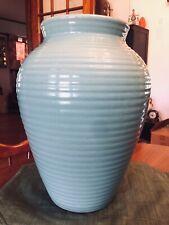 """Vintage Robinson Ransbottom Turquoise Blue 15"""" Floor Vase Oil Sand Jar"""