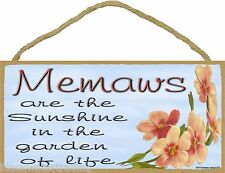 """Dogwood Memaws Are The Sunshine In The Garden Of Life Sign Plaque 5""""X10"""""""