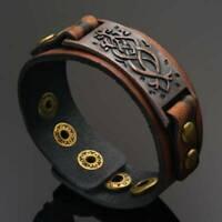 Punk Leather Wrap Cuff Bangle Bracelet Men's Women's Wristband Unisex Jewelry AU