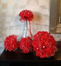 WEDDING FLOWERS BRIDE/MAID BRIGHT RED ROSE/PEARL BRIDAL BOUQUETS/CORSAGE PACKAGE