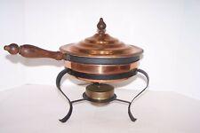 Vintage Copper Chafing Dish Double Boiler Wood Handle 5 pcs. Brass Burner Metal
