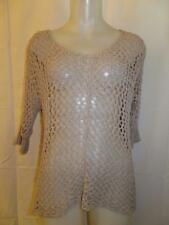 WOMENS RUBY AND JENNA BEIGE KNIT MESH TOP - SZ P/S