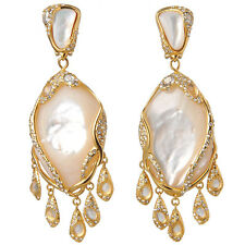 De Buman 18k Yellow Gold Plated Mother-of-Pearl & Aqua Crackle Glass Earrings