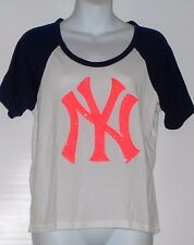 Victoria's Secret Pink Limited Edition NY Yankee Bling Sequin Colorblock Tee S