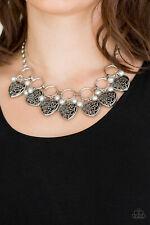 Paparazzi jewelry silver pearls vintage locket like heart Necklace w Earrings