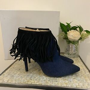 Miss Sixty UK 7 41 blue denim tassel pointed toe Y2K 90's boots party clubbing