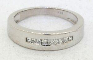 14K white gold high fashion .54CTW Princess diamond men's band ring size 9.5