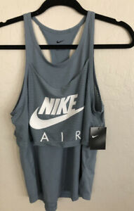 NWT Nike Air Size XS Racer Back Overlay Tank Blue White $40