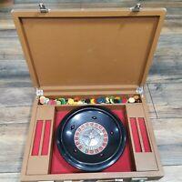 Vintage Roulette Set Carry Case Felt Chips Heavy 18 x 13.5 in