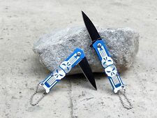 "Punisher Skull 5"" Small Mini Blue Spring Assisted Pocket Knife Keychain Blade"
