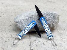 "Punisher Skull 5"" Small Mini Blue Spring Assisted Pocket Knife Keychain Blade"