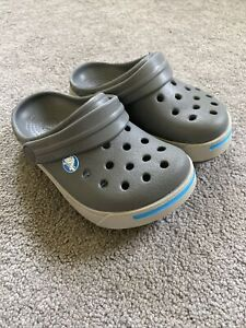 Kids Crocs Sandals Size 6/7, Genuine Official Crocs Brand, Grey Very Good. Boys