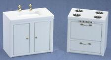 Dollhouse Miniatures 1:12 Scale Stove & Sink, White #CLA91602