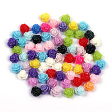 20Pcs Rose Flower Flat Back Cabochons for Nail Art - Assorted Colors