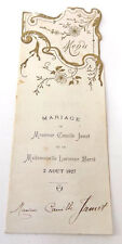 1927  Lunch & Dinner Menus in French Wedding of Camille Jamet & Lucienne Barre