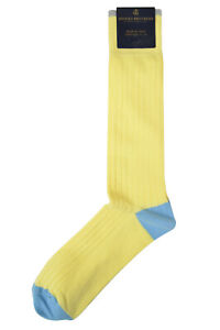 Brooks Brothers Mens 1 Pair Yellow Blue Ribbed Cotton Dress Socks 7-12  8359-7
