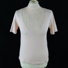 NINA VON C Women Top 14 Peach Pink Lace High Neck Illusion Short Sleeve Party