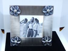 """Picture Frame~Flower~Pewter Brushed Nickel Finish 5 1/4"""" x 51/4""""New In Box(2331)"""