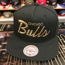 "Mitchell & Ness Chicago Bulls Snapback Hat All Black/GOLD Foil Script ""bulls"""