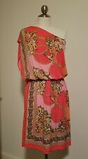 Maggy London Size 8 Pink Multi-Color Chain Link One Shoulder Polyester Dress F5
