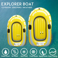 1/2 Person PVC Inflatable Boat Raft Fishing Floating Rowing Canoe Kayak Dinghy