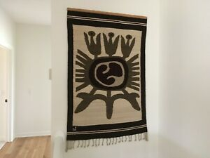 Vintage Hand Made Woven Wool Tapestry wall hanging /Bohemian home decor