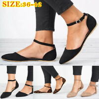 Women Summer Ankle Strap Flats Sandals Comfy Ballerina Court Pumps Shoes Size WA