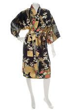 Japanese Kimono Floral Print Short Black