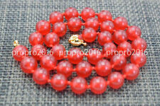 18'' Genuine 12mm Natural Red Jade Round Gemstone Beads Necklace Jewelry PN1299
