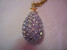 "JOAN RIVERS Aurora Borealis Magic Crystal Egg Pendant With Gold-tone Chain 27"""
