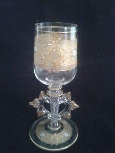 Grand gobelet verre calice de mariage émaillé ancien XIXème
