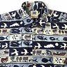 AVI BY KAHALA Mens Hawaiian Shirt M Blue White Tan Hawaiian Symbols Cotton GUC