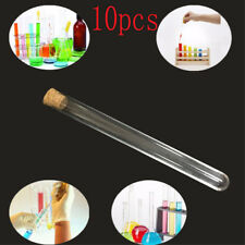 10x Glass Test Tube Round Bottom with Cork Stopper Borosilicate Chemistry CP
