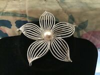 Silver Tone With A Faux Pearl In The Center Textured Flower Brooch