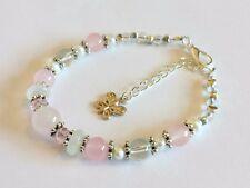 love fertility healing bracelet gemstone moonstone rose quartz pearls charm