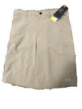 NWT Boys Size 18 Under Armour Match Play Golf Khaki Shorts New