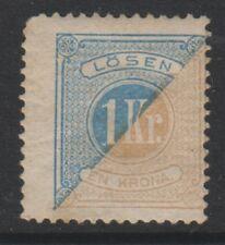 Sweden - 1882, 1k Blue & Bistre Postage Due stamp - Perf 13 - M/M - SG D37b