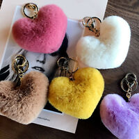 Heart Shape Keychain Fluffy Soft Pompom Ball Key Ring Chain Women Pendant Bags