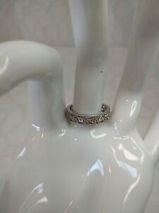 Diamonique From QVC Sterling Silver Band Ring Size 6&3/4 $14.99