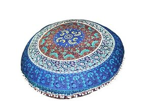 Floor Cushion Cover Indian ottomans Pouf Pillow Mandala Cotton  Large Round Case