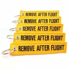 REMOVE AFTER FLIGHT KEYCHAIN QTY= 5 PCS YELLOW/black TAGS FLAGS PILOT CREW