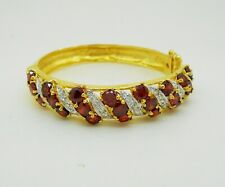 Garnets Cubic Zirconia 18k 22k 24k Yellow Gold Plated Bangle Bracelet Jewelry
